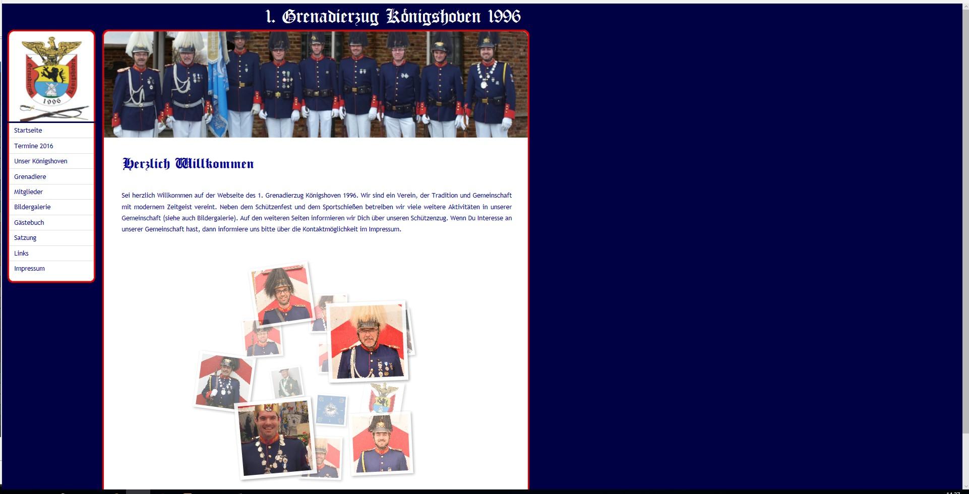 Bild Website Schützenzug Grenadiere Königshoven (NRW)